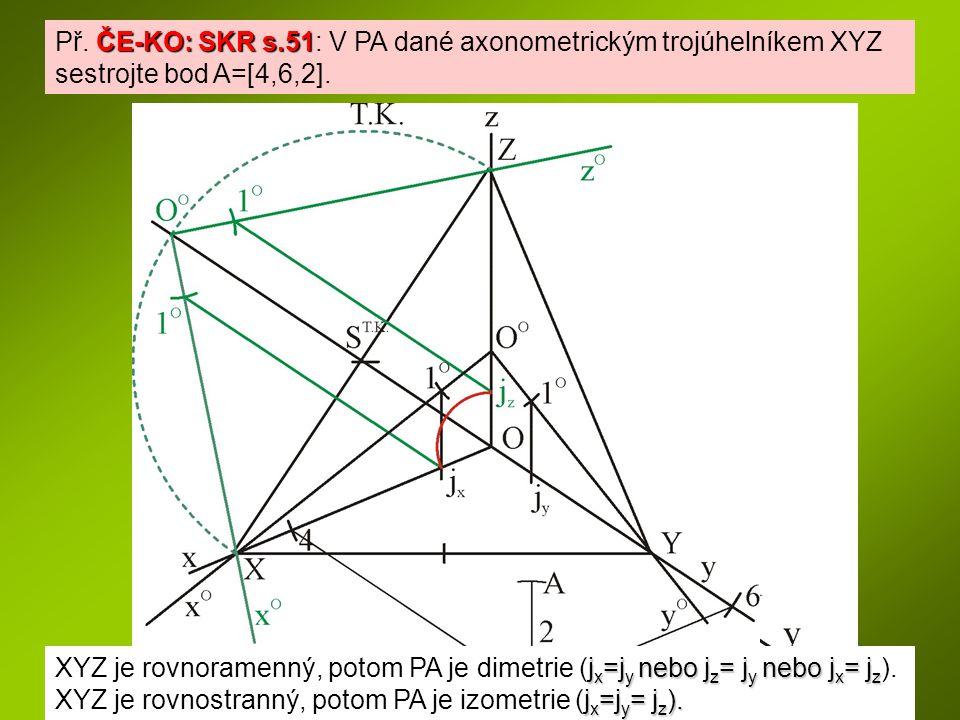 Př. ČE-KO: SKR s.51: V PA dané axonometrickým trojúhelníkem XYZ sestrojte bod A=[4,6,2].